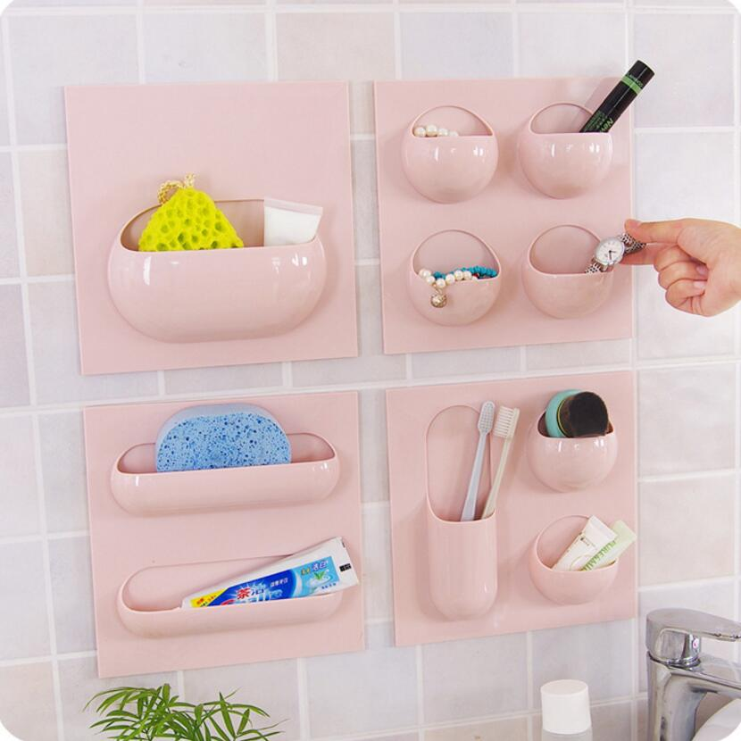 2PC/bag Innovative paste hanging bathroom supplies storage rack also ...
