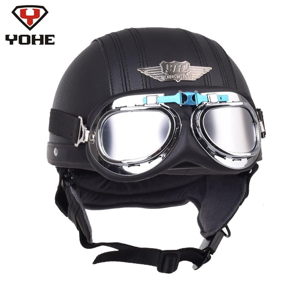 YOHE Retro Motorcycle Helmet Cruiser Leather Pilot Aviator Scooter Vintage Half Helmets Casque Moto Casco Capacete with Goggles все цены