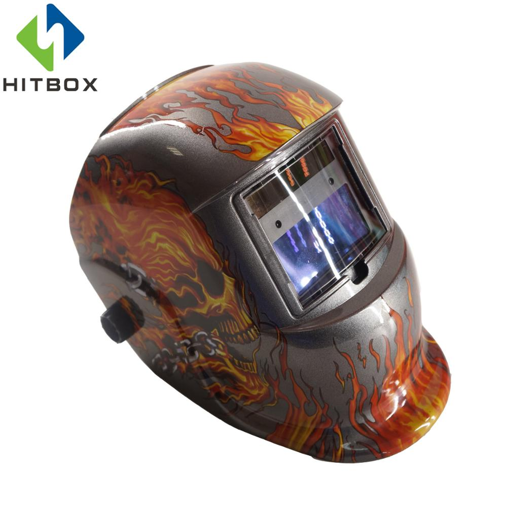 HITBOX Welding Helmets Auto Darkening Helmet Red Flame Silver Mask Cap Goggles Tool Welding Protection Mask Helmets 100x50mm welding goggles welding tools with automatically dimming glasses welding caps hot red welding mask helmet dhcp 27