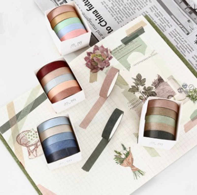 5X 10mm*5M Solid color DIY Multifunctional decorative paper tape decorative Greeting card scrapbook masking tape for party tool