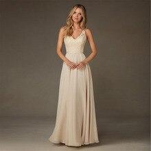 Elegant A-Line V-Neck Chiffon 2016 Lace Sequins Bridesmaid dress