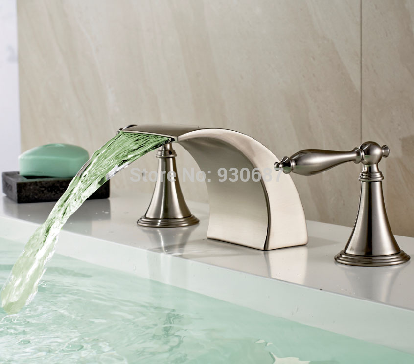 Modern Brushed Nickel Bathroom Sink Faucet Led Deck Mounted Mixer