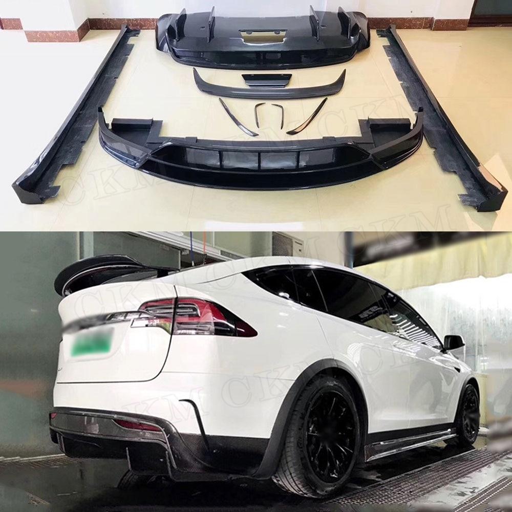 Voiture De Fiber De carbone Corps Kits Pare-chocs Lip Splitters Auto Spoiler Jupes Latérales pour Tesla Modèle X Car Styling