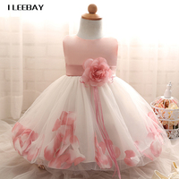 High Quality Baby Flower Girl Dress 1 Year Birthday Dress Summer Performance Floral Lace Princess Costume