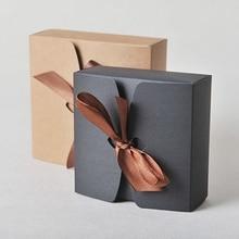 Крафт-коробки с лентой, свадебные коробки, подарочные коробки для детского душа, подарочные коробки для вечеринок 30 шт./лот