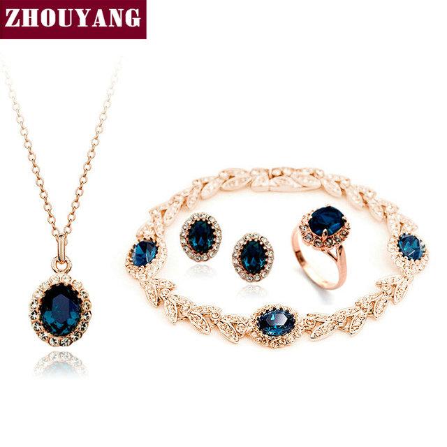 De Calidad superior ZYS111 Oro Azul de Cristal Austriaco Joyería Conjunto Con 4 Unids 1 Nicklace + 1 Anillo + 1 Pendientes + 1 Pulsera