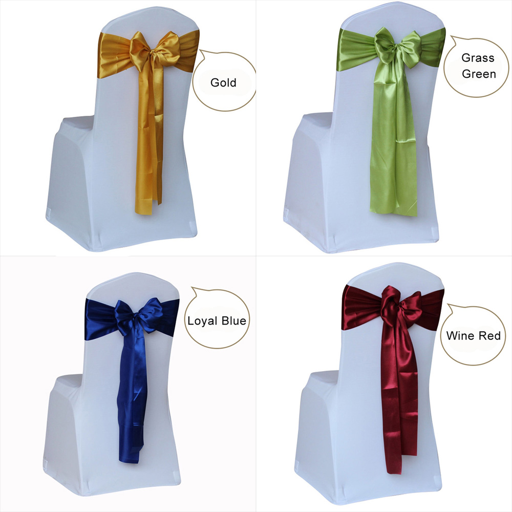 Wholesale 100pcs Satin Wedding Chair Sash Bow Tie Satin Ribbon Chair Bands For Wedding Decoration Hotel Party Supplies