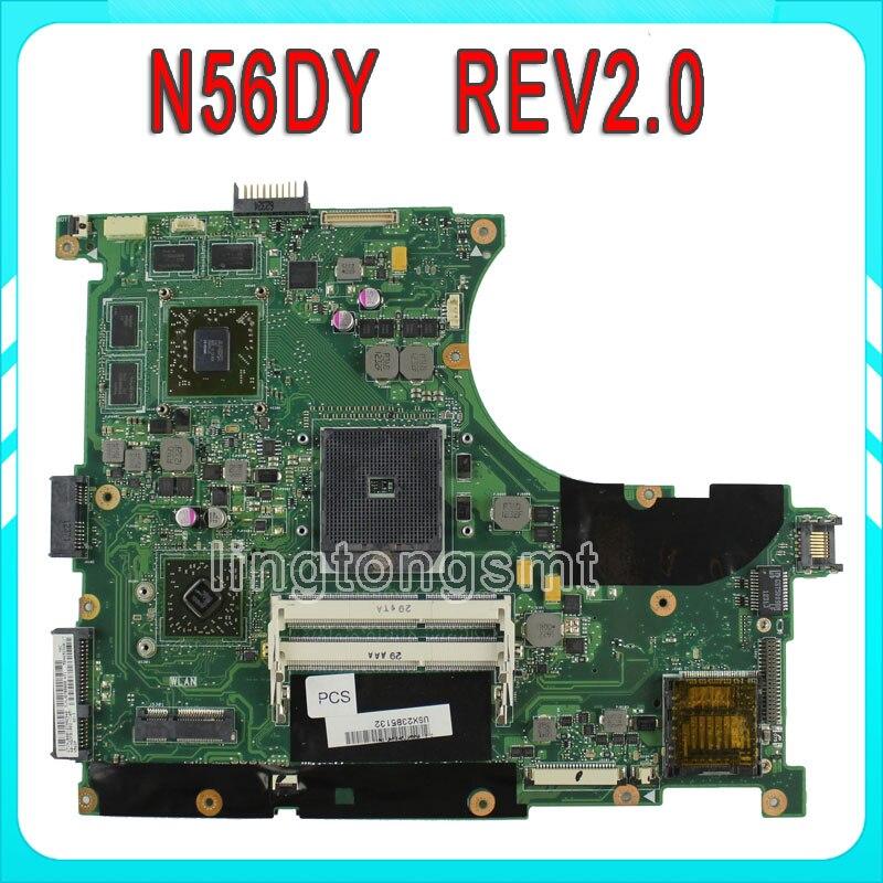 Original for ASUS N56DY Motherboard N56DY N56DP Rev 2.0 Graphic HD 8750M 60-NQOM1002- C03 100% Tested лонгслив hugo hugo boss hugo hugo boss hu286ewtqc52