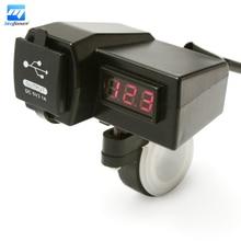 12V 24V Motorcycle ATV Scooter Waterproof Voltage Voltmeter 2 USB Power Socket Charger With Digital Display