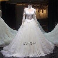 vestido de noiva Fabulous Wedding Dress 2018 Appliques Tulle Long Sleeve Wedding Gowns Button Back