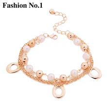 2017 New Bohemia Foot Jewelry Double Link Chains Gold Plated Anklets Round Pendant Anklet Bracelets For Women Gift Free Shipping