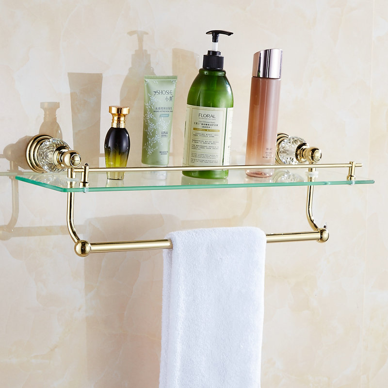62 Jade Série Prateleiras Do Banheiro de Ouro Polido Acessórios Do Banheiro Suporte de Toalha de papel Toalha Bar & Gancho Com Limpeza De Vidro Prateleira - 5