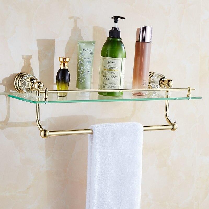 62 Jade Series Golden Polished Bathroom Shelves Bathroom Accessories Towel Holder Towel Bar&Hook With Glass Dressing Shelf