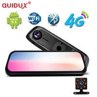 QUIDUX Android Видеорегистраторы для автомобилей 4 г WCDMA 8 дюймов Touch Зеркало заднего вида DVRS Двойной объектив gps навигации wi fi регистраторы видео Ре