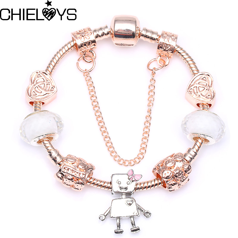 CHIELOYS Vintage Silver Colour Bella Bot Charm Bead Beacelet For Women Fit Original DIY Pandora Bracelet Jeweley Pulsseira BA059