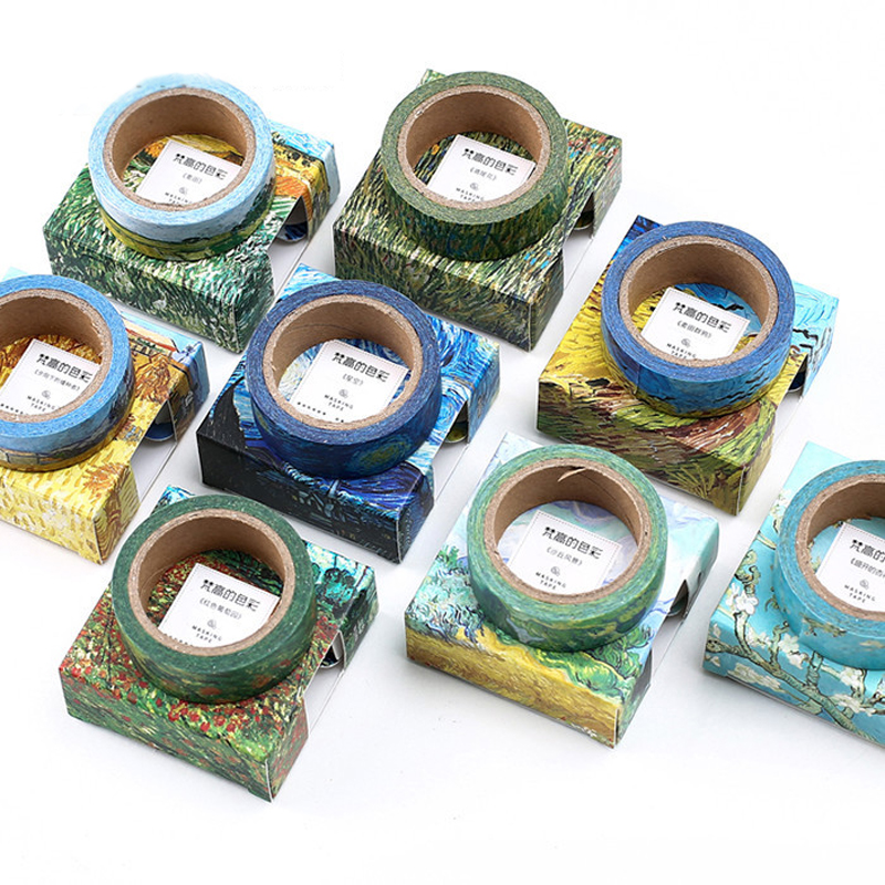 Washi Tapes DIY Van Gogh Painting Paper Masking Tape Decorative Adhesive Tapes Scrapbooking Stickers Size 15 Mm*7m Stationery