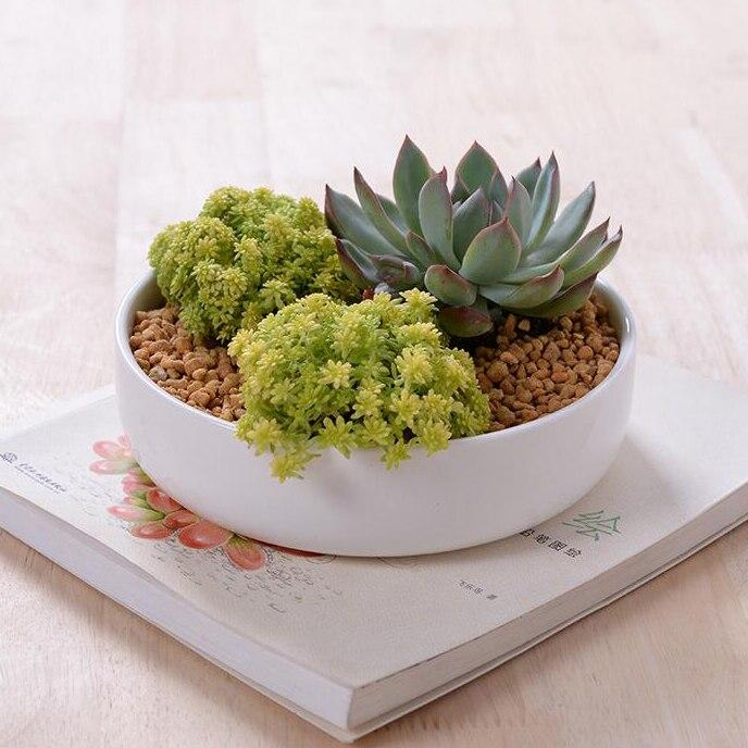 modern zakka ceramic flower pot round white glazed ceramic planter for