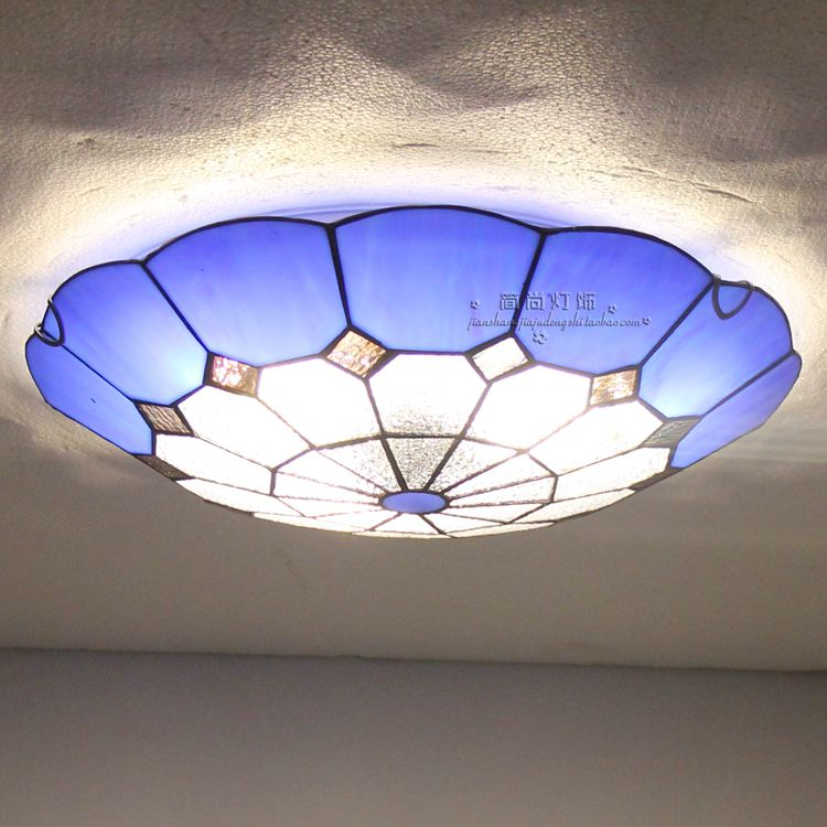 Mediterranean creative Tiffany ceiling lamp entrance hall light balcony stair lamp kitchen lights Mediterranean lamp DF19 tiffany mediterranean style peacock natural shell ceiling lights lustres night light led lamp floor bar home lighting