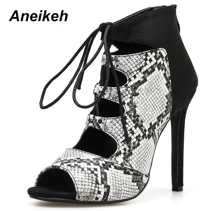 Aneikeh NEW Women s Sexy serpentine Sandals Boots Shoes Lace-Up High Heel  Sandals Ladies Summer 7e4d73064871