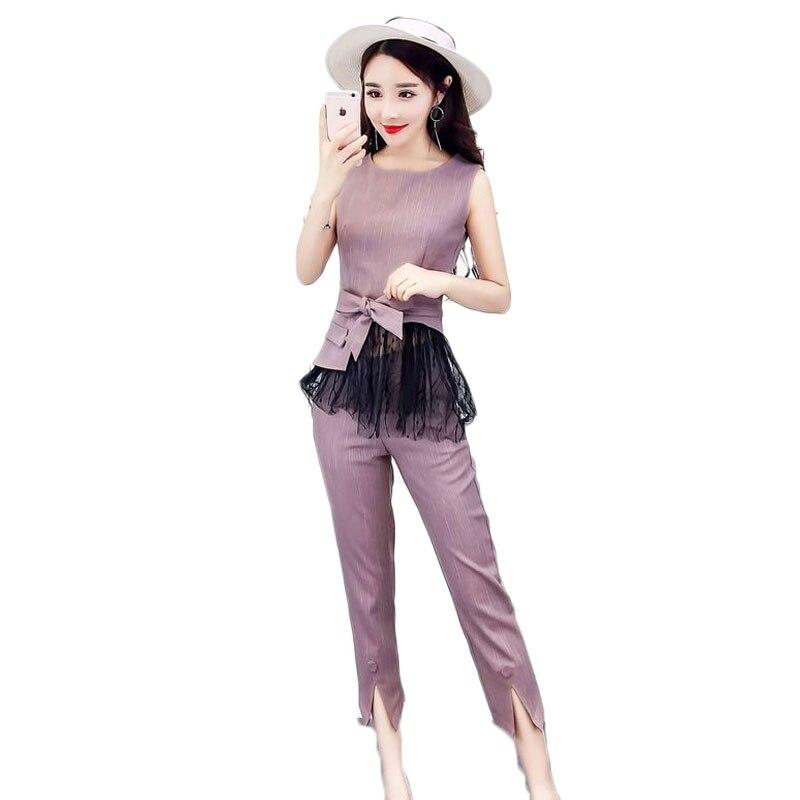 >Women's fashion belt bud silk jacket zipper stitching <font><b>split</b></font> <font><b>pants</b></font> <font><b>suit</b></font> o neck sleeveless top slim clothing set sexy design kit