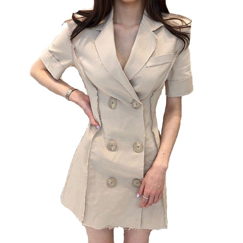 Col Nouveau 2018 Femmes Boutonnage Courtes Double Costume kaki Vadim Et L'ukraine De Mode D'été Plage Robe Féminine À Professionnel Noir Manches La vq4SX