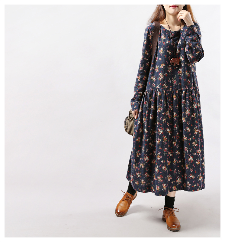 Woman font b Dress b font Winter 2017 font b Floral b font Printed Long Maxi