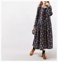 Woman Dress Winter 2017 Floral Printed Long Maxi Dress Casual Loose Long Sleeve O Neck Mori Girl Cotton Linen Dress Plus Size