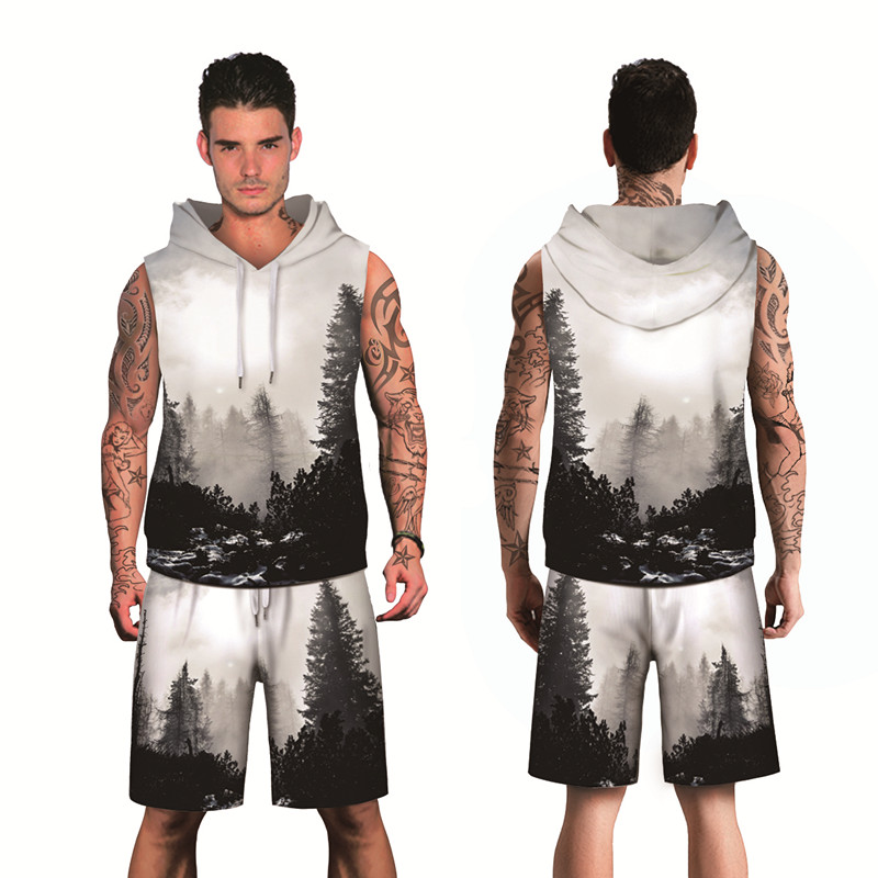2019 Autumn Men's Fashion Hip Hop Print Dark Sky Forest 3D Breathable Polyester Sleeveless Hoodies And Knee Length Shorts Sets