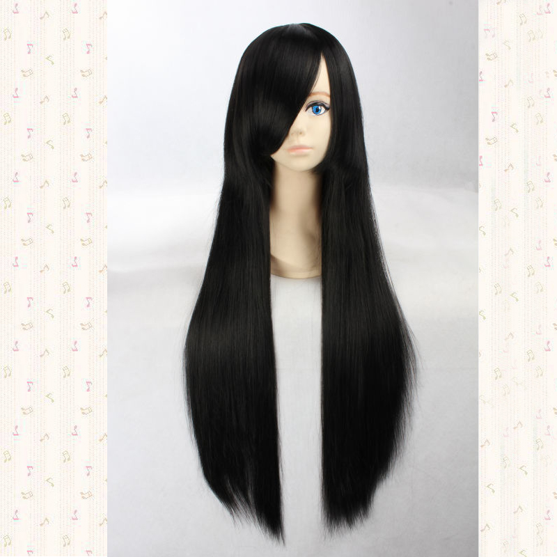 Katsura Kotarou 80cm Black Long Straight Synthetic Cosplay Hair Wig,Anime Wig + Wig Cap