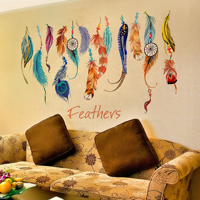 colorful feather wall stickers bedroom living room wall art decel ...