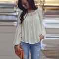 Sin respaldo de Mujer Blusas Ropa Vetement Femme Blusas y camisas de mujer nueva femme chemisier blanca suelta blusa para mujer tops 2016