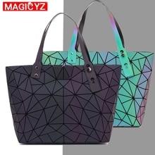 Frauen große kapazität holographische laser handtasche unregelmäßige geometrische leucht mädchen schulter tasche laptop büro big tasche