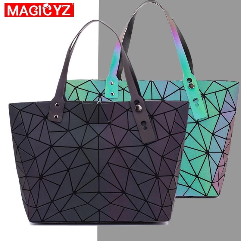 Women's large capacity holographic laser handbag irregular geometric luminous girl shoulder bag laptop office big bag-in Top-Handle Bags from Luggage & Bags