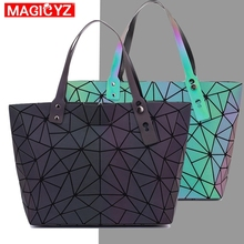 Women's large-capacity holographic laser handbag irregular geometric luminous girl shoulder