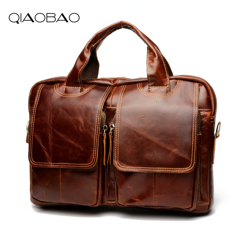 QIAOBAO Genuine Leather Men Briefcase Famous Brand Messenger Bag Leather Laptop Bag Causal Handbag Brief Case Men Business Bag 100% genuine leather men bag brand designed men laptop briefcase business bag cow leather men handbag shoulder bag messenger bag