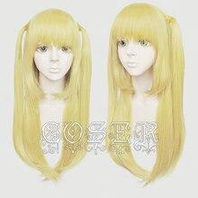 Anime Death Note Amane Misa Cosplay peruk 60cm uzun altın isıya dayanıklı sentetik saç peruk + peruk kap