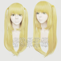 Anime Death Note Amane Misa Cosplay Wigs 60cm Long Golden Heat Resistant Synthetic Hair Wig + Wig Cap