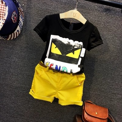 2016 summer Europe fashionable The boy cartoon color letter jacket + solid shorts children's birthday gift