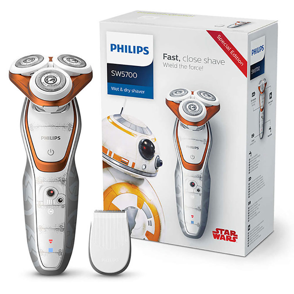 все цены на Philips Star Wars Edition Shaver SW5700 Wet and Dry Rechargeable Electric Razor with Smart Click Precision Trimmer for Men Care онлайн