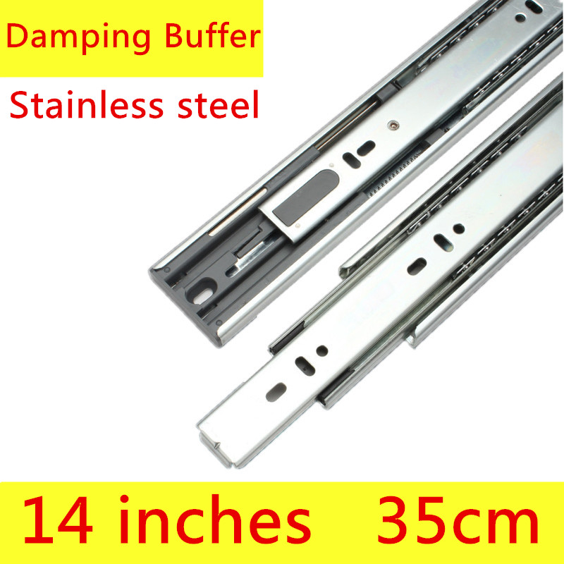 2 pairs 14 inches 35cm Three Sections Furniture Slide with Damping Furntion Stainless Steel Drawer Track Slide Guide Rail widening thicker stainless steel roller guide drawer slide rail track three track rail 2 mounted slide