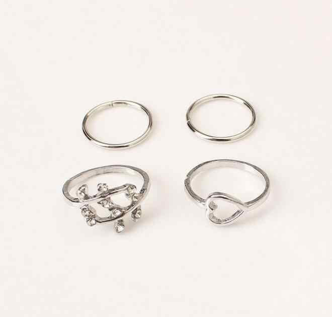 חדש 4 Pcs פשוט עיצוב ווג מתוקה עץ עלה עלים נייל להקת אמצע אצבע Knuckle טבעת סט לנשים
