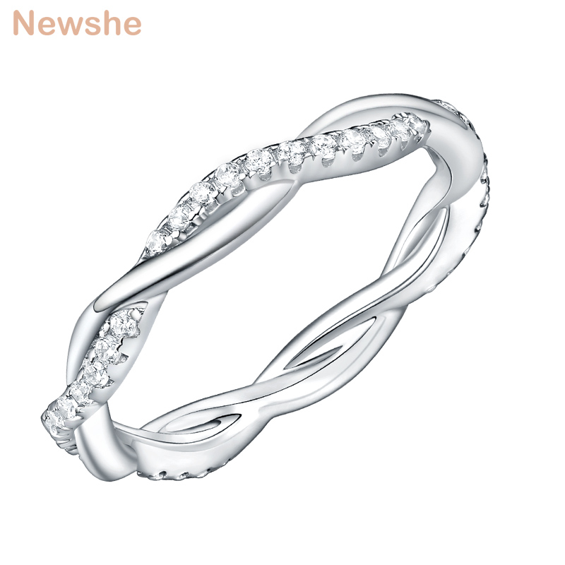 Newshe 925 Sterling Silver Wedding Engagement Ring For Women Twist Rope Wave Design Curve Band Trendy Jewelry CZ Jewelry GiftRings   -