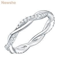 Newshe anillo de compromiso de Plata de Ley 925 para mujer, diseño de onda giratoria, banda curva, joyería, regalo de joyería CZ