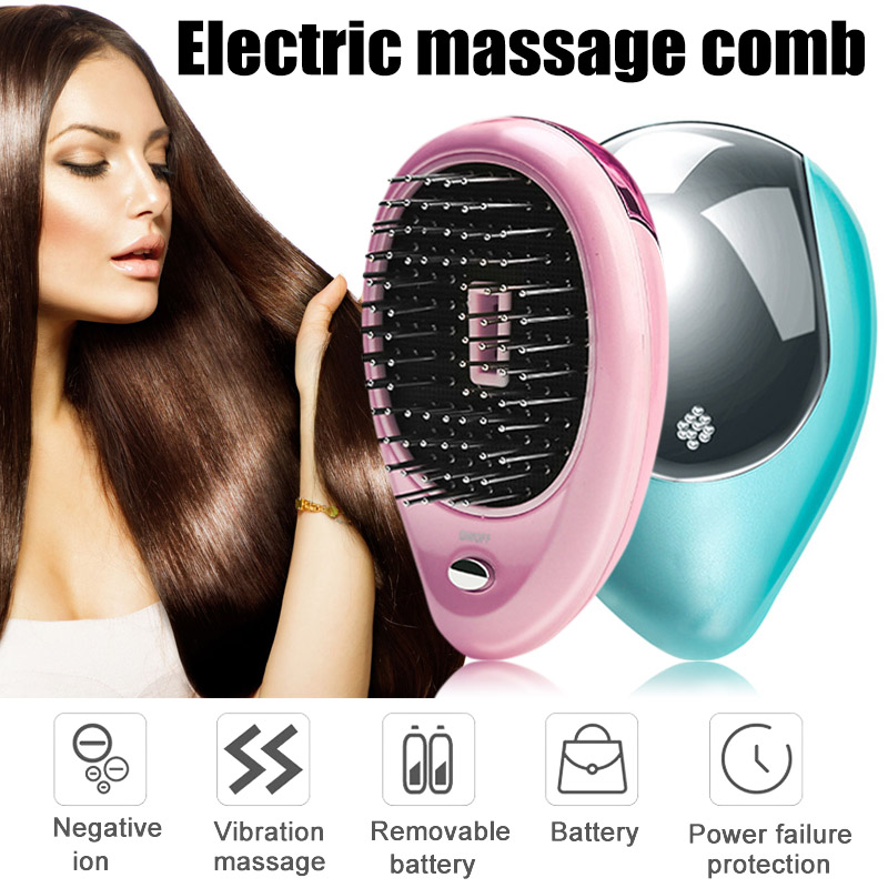Head Massage Comb Hair Brush Portable Electric Ionic Hairbrush Mini Ion Vibration Hair Brush Comb Head Massager green sandalwood combed wooden head neck mammary gland meridian lymphatic massage comb wide teeth comb