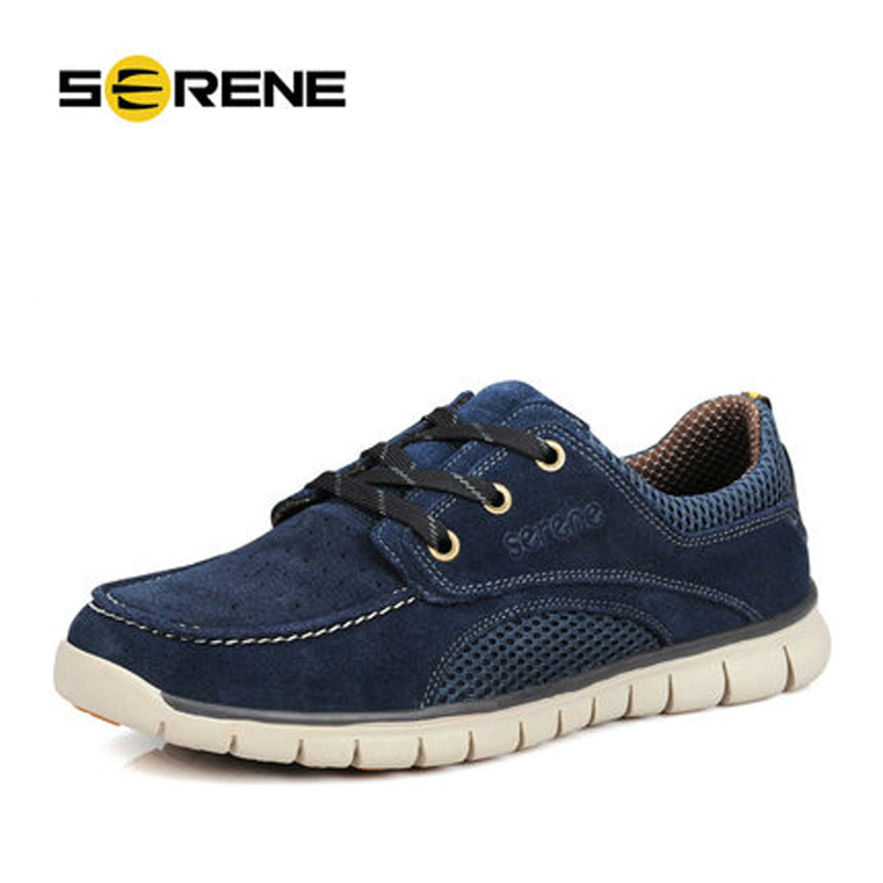 SERENE 2017 Men Shoes Suede Height Increased Plus Size 38~46 Men Casual Shoes Light Weight Lace-up Leather Breathable Spring zero more fashion men shoes high quality cow suede leather men casual shoes lace up breathable shoes for men plus size 38 49