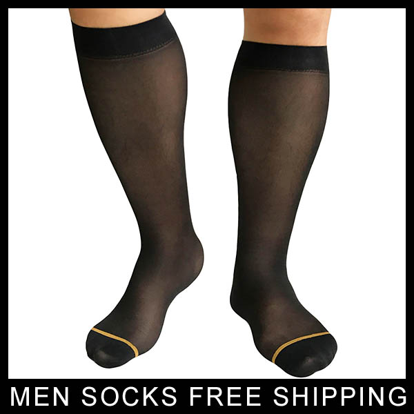 New Style Mens Sheer Socks Ultra Thin Nylon Socks Sexy with Golden Line Blue Line Gay formal dress suit socks Sheer Sox