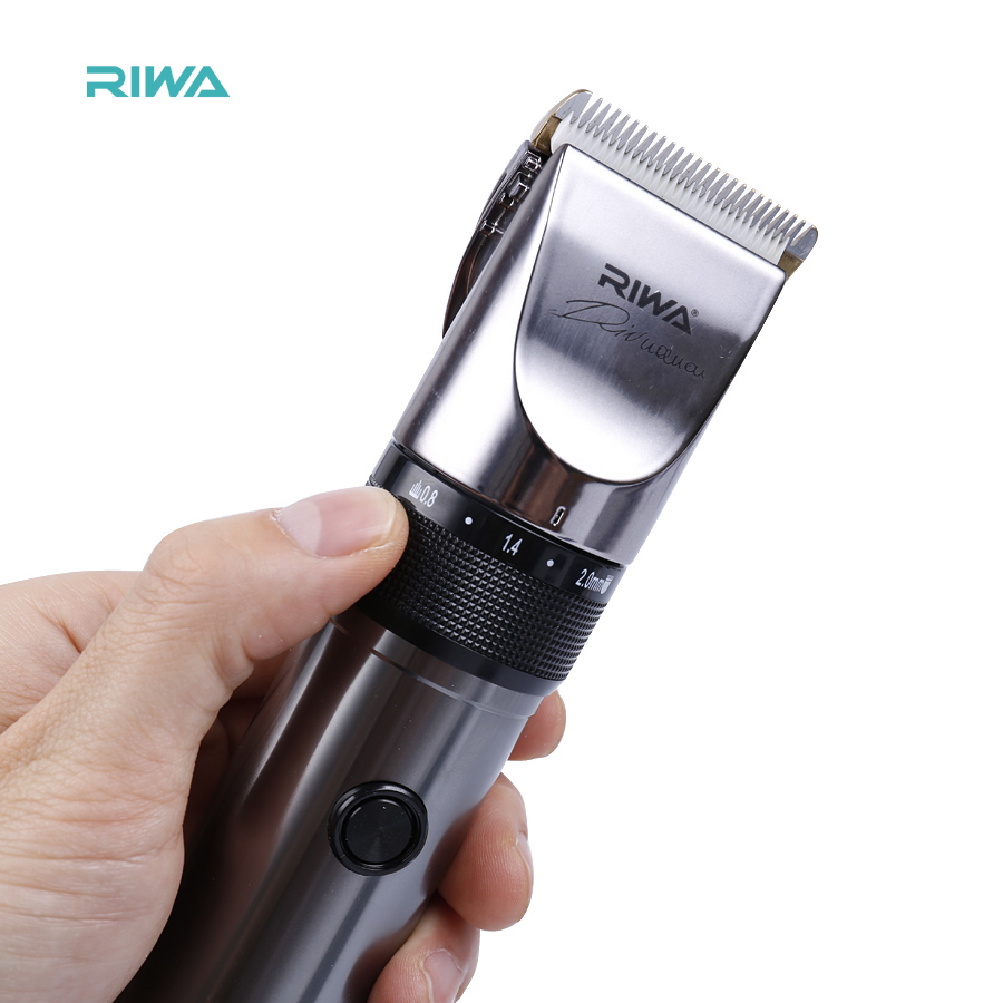 ФОТО RIWA Electric Hair Trimmer Professional hair clipper lithium battery titanium ceramic blade Rechargeable hair cutting machine