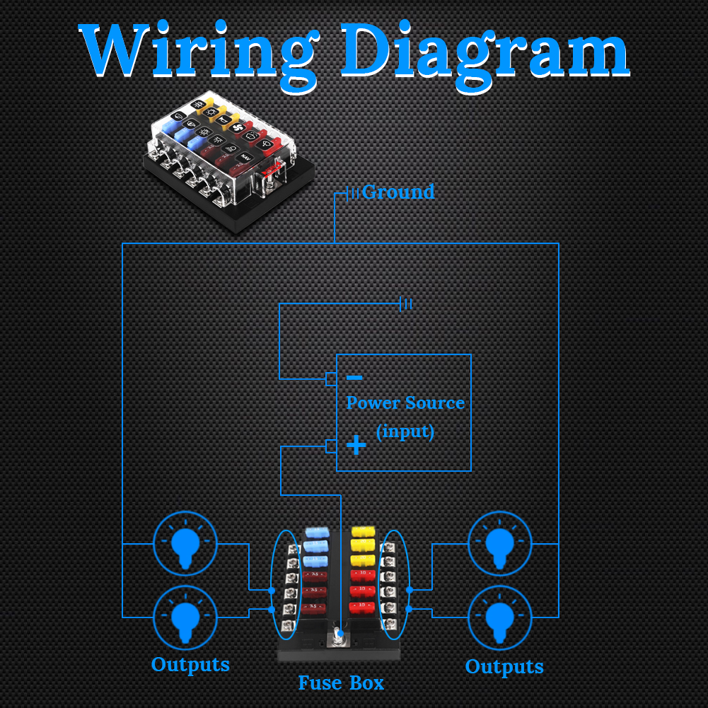 12 Way Blade Fuse Box Terminals With Led Warning Light Waterproof Boat Wiring Diagram Car Holder Marine Truck Automotive In Fuses From Automobiles Motorcycles