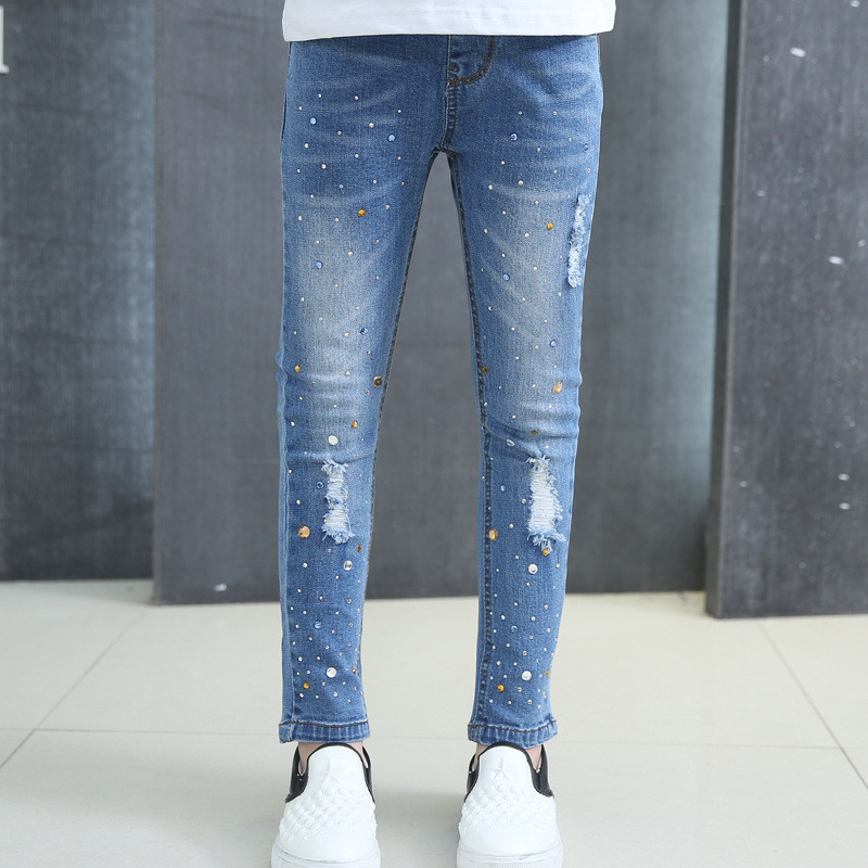 5T-14T Children's Clothing Girl Pants Hole Embroidered Elasticity Baby Girl Jeans Fashion Pants Spring Autumn For Children autumn new fashion cotton jeans women loose low waist washed vintage big hole ripped long denim pencil pants casual girl pants