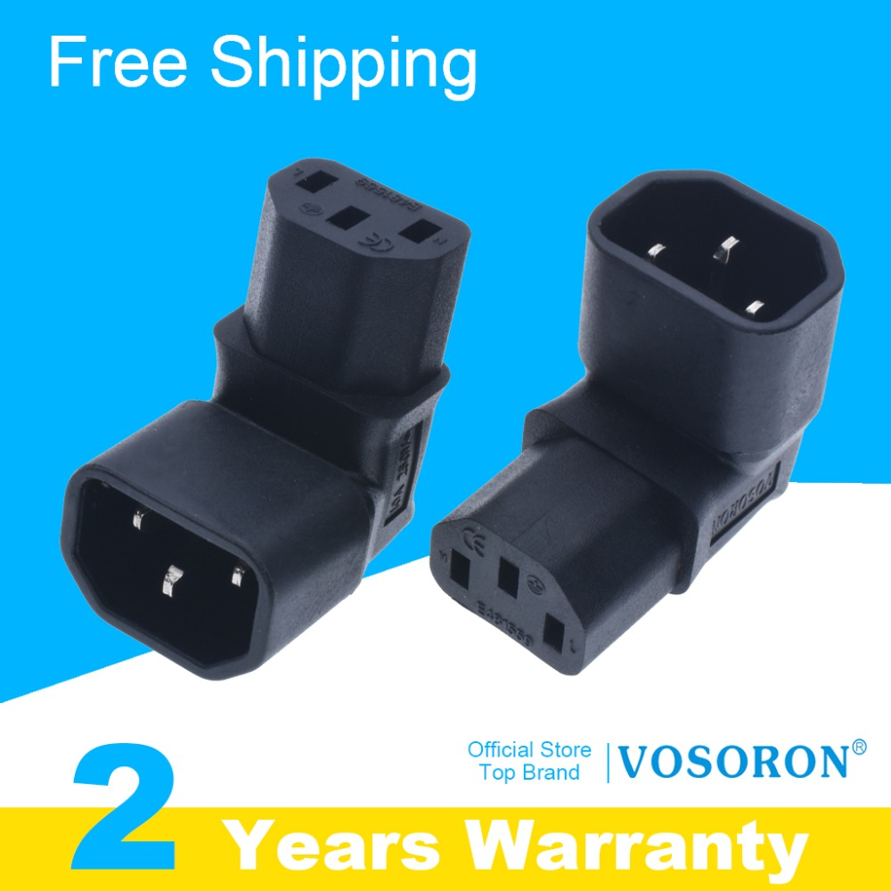 Free shipping Right Angled IEC Adapter UP 320 C14 to C13 for lcd wall mount TV #WPT604
